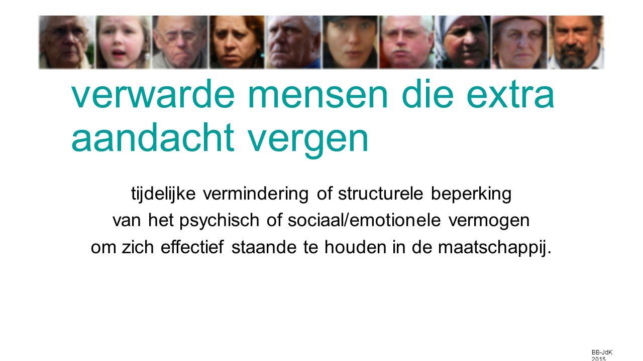 tijdelijke vermindering of structurele beperking van het psychisch of sociaal/emotionele vermogen om zich effectief staande te houden in de maatschappij.