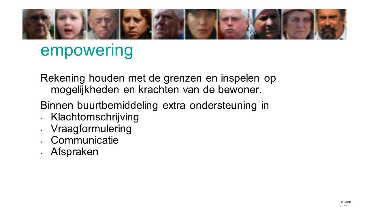 empowering Rekening houden met de grenzen en inspelen op mogelijkheden en krachten van de bewoner.