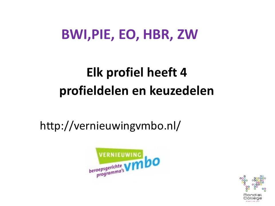 BWI,PIE, EO, HBR, ZW Elk profiel heeft 4 profieldelen en keuzedelen http://vernieuwingvmbo.nl/