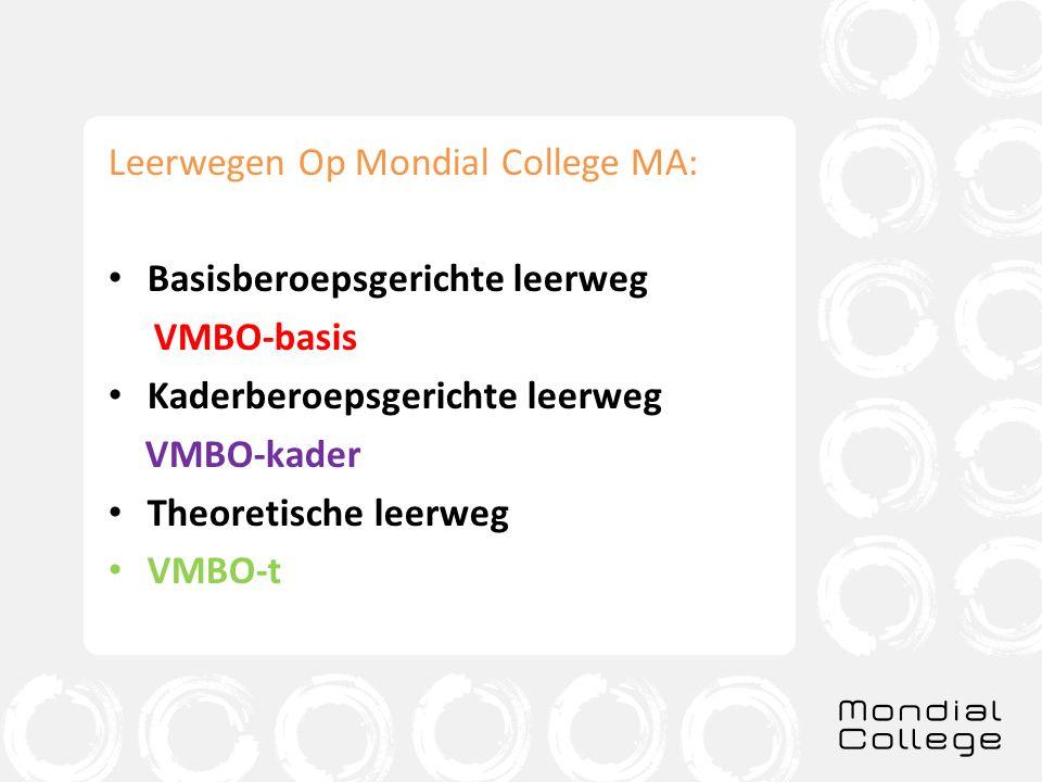 V Leerwegen Op Mondial College MA: Basisberoepsgerichte leerweg VMBO-basis Kaderberoepsgerichte leerweg VMBO-kader Theoretische leerweg VMBO-t