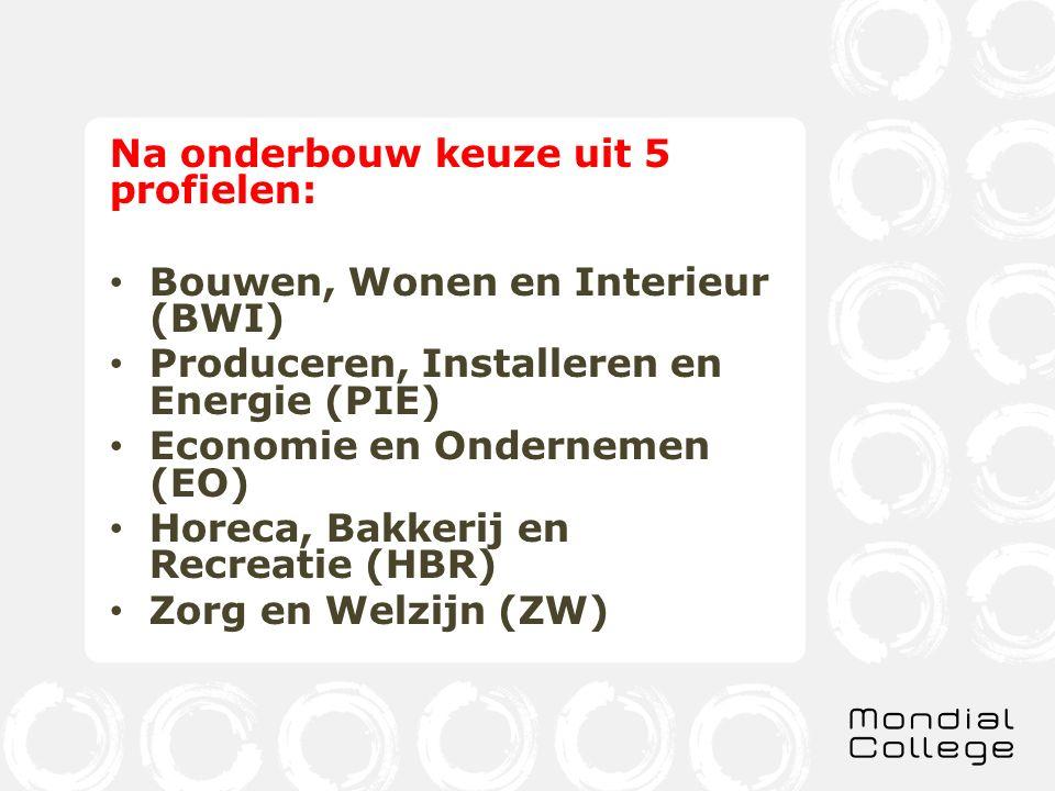 Na onderbouw keuze uit 5 profielen: Bouwen, Wonen en Interieur (BWI) Produceren, Installeren en Energie (PIE) Economie en Ondernemen (EO) Horeca, Bakkerij en Recreatie (HBR) Zorg en Welzijn (ZW)