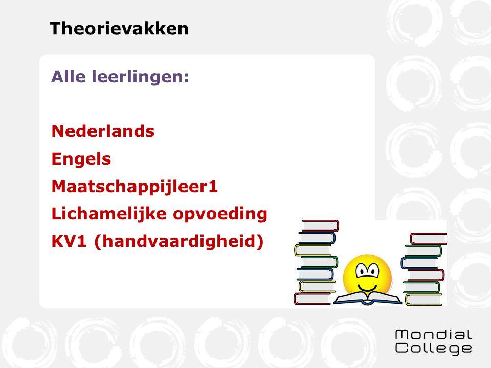 Theorievakken Alle leerlingen: Nederlands Engels Maatschappijleer1 Lichamelijke opvoeding KV1 (handvaardigheid)