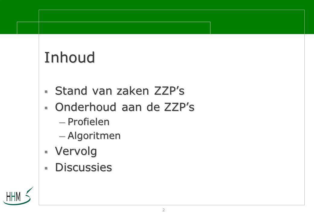 2 Inhoud  Stand van zaken ZZP's  Onderhoud aan de ZZP's — Profielen — Algoritmen  Vervolg  Discussies