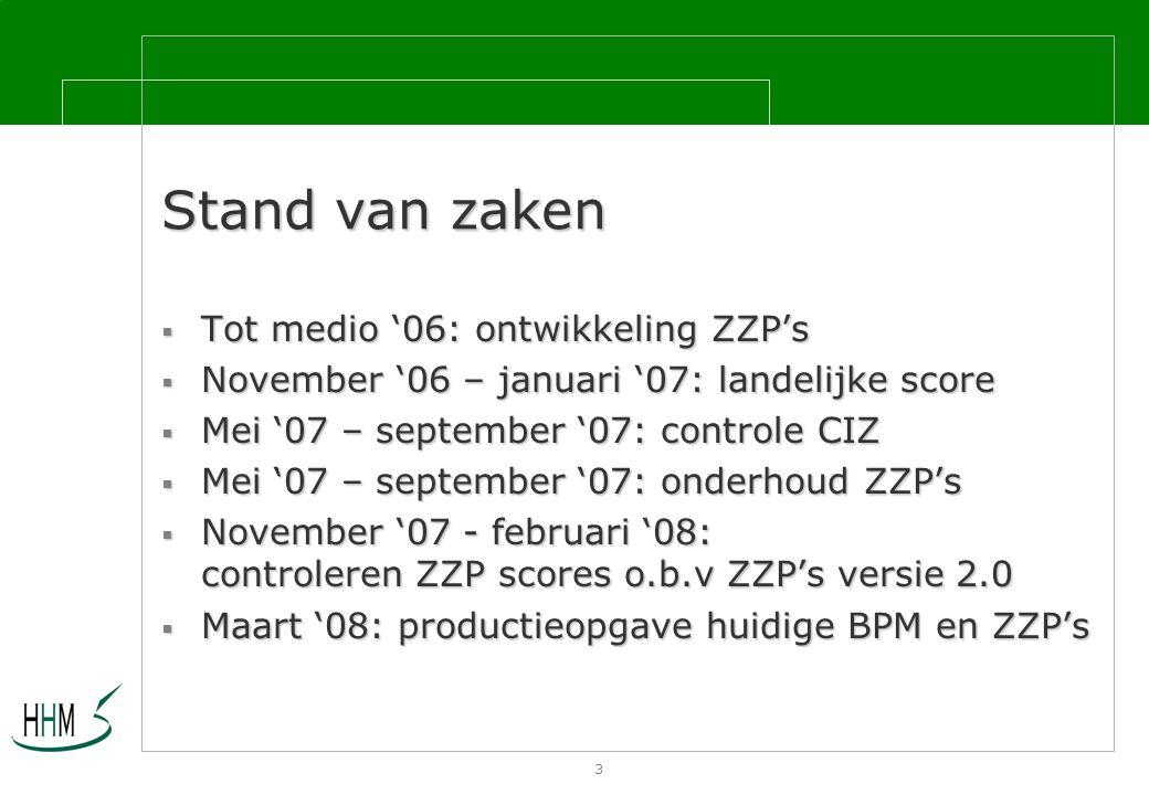 3 Stand van zaken  Tot medio '06: ontwikkeling ZZP's  November '06 – januari '07: landelijke score  Mei '07 – september '07: controle CIZ  Mei '07 – september '07: onderhoud ZZP's  November '07 - februari '08: controleren ZZP scores o.b.v ZZP's versie 2.0  Maart '08: productieopgave huidige BPM en ZZP's