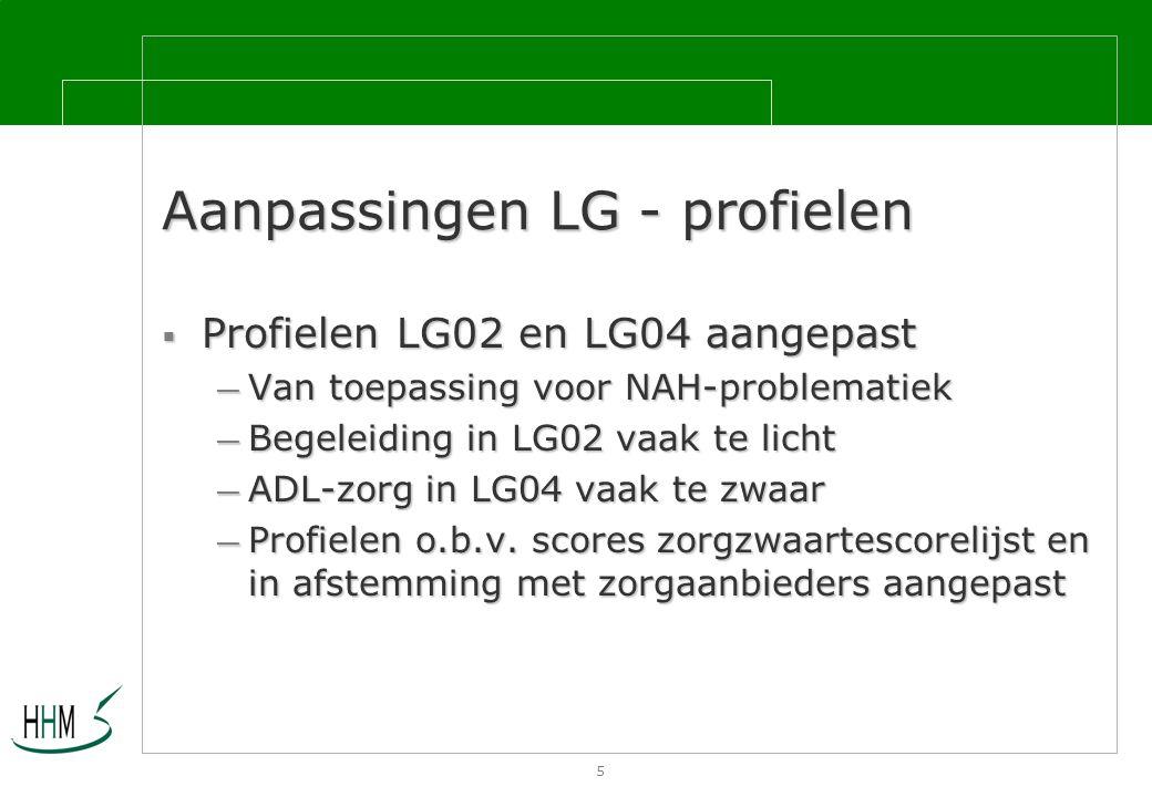 5 Aanpassingen LG - profielen  Profielen LG02 en LG04 aangepast — Van toepassing voor NAH-problematiek — Begeleiding in LG02 vaak te licht — ADL-zorg in LG04 vaak te zwaar — Profielen o.b.v.