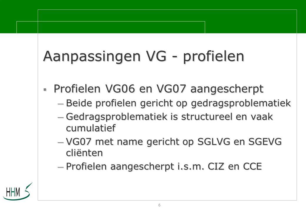 6 Aanpassingen VG - profielen  Profielen VG06 en VG07 aangescherpt — Beide profielen gericht op gedragsproblematiek — Gedragsproblematiek is structureel en vaak cumulatief — VG07 met name gericht op SGLVG en SGEVG cliënten — Profielen aangescherpt i.s.m.