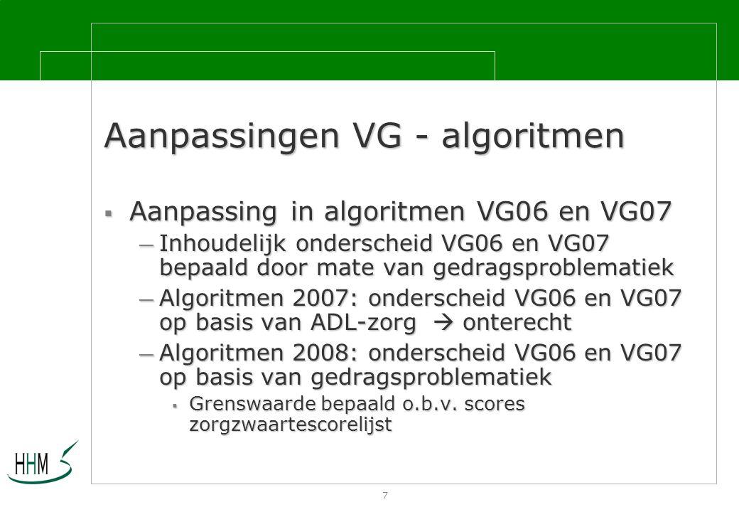 7 Aanpassingen VG - algoritmen  Aanpassing in algoritmen VG06 en VG07 — Inhoudelijk onderscheid VG06 en VG07 bepaald door mate van gedragsproblematiek — Algoritmen 2007: onderscheid VG06 en VG07 op basis van ADL-zorg  onterecht — Algoritmen 2008: onderscheid VG06 en VG07 op basis van gedragsproblematiek  Grenswaarde bepaald o.b.v.