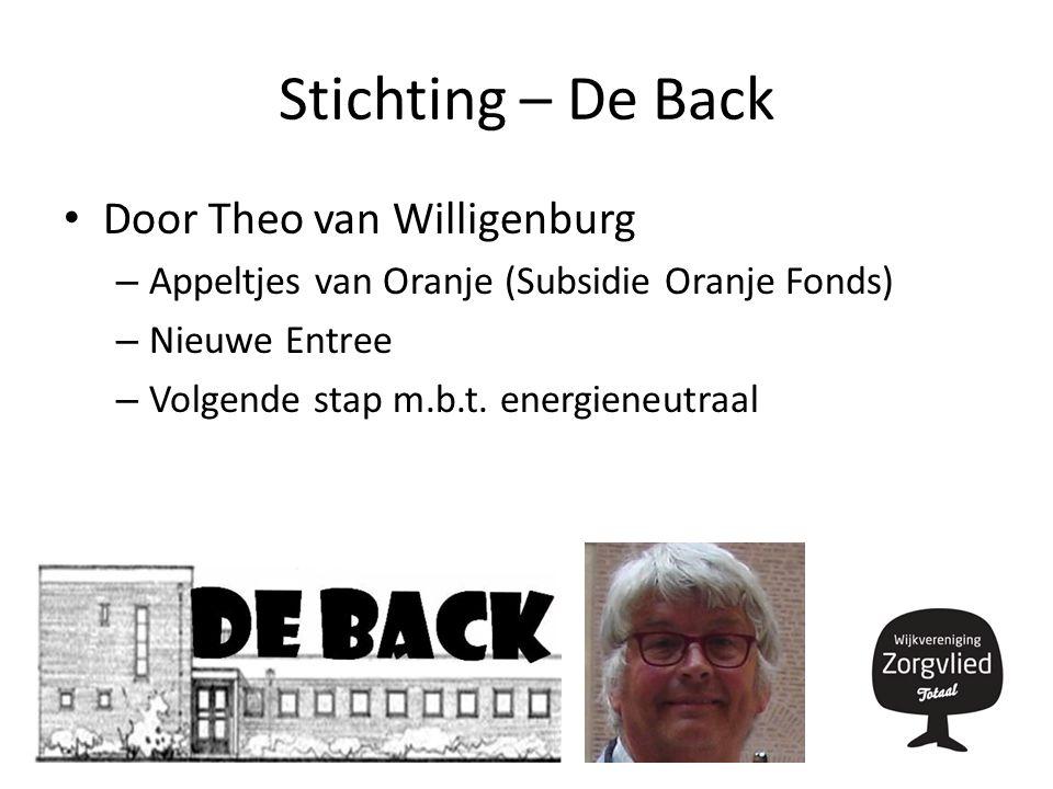 Stichting – De Back Door Theo van Willigenburg – Appeltjes van Oranje (Subsidie Oranje Fonds) – Nieuwe Entree – Volgende stap m.b.t.