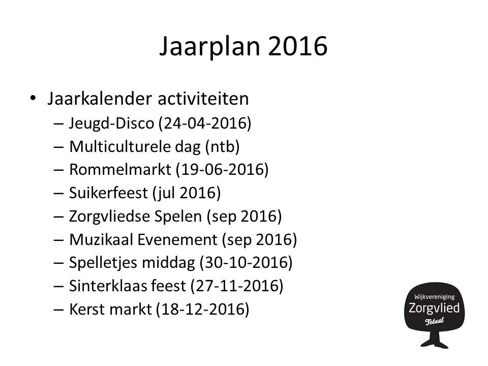 Jaarplan 2016 Jaarkalender activiteiten – Jeugd-Disco (24-04-2016) – Multiculturele dag (ntb) – Rommelmarkt (19-06-2016) – Suikerfeest (jul 2016) – Zorgvliedse Spelen (sep 2016) – Muzikaal Evenement (sep 2016) – Spelletjes middag (30-10-2016) – Sinterklaas feest (27-11-2016) – Kerst markt (18-12-2016)