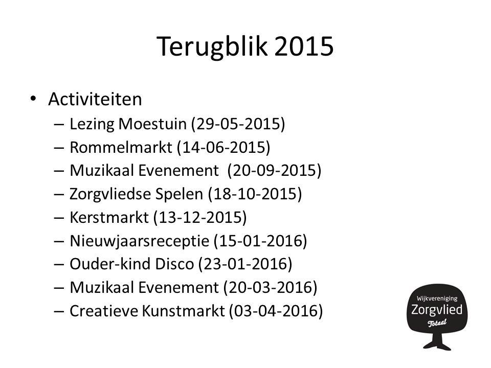 Terugblik 2015 Activiteiten – Lezing Moestuin (29-05-2015) – Rommelmarkt (14-06-2015) – Muzikaal Evenement (20-09-2015) – Zorgvliedse Spelen (18-10-2015) – Kerstmarkt (13-12-2015) – Nieuwjaarsreceptie (15-01-2016) – Ouder-kind Disco (23-01-2016) – Muzikaal Evenement (20-03-2016) – Creatieve Kunstmarkt (03-04-2016)