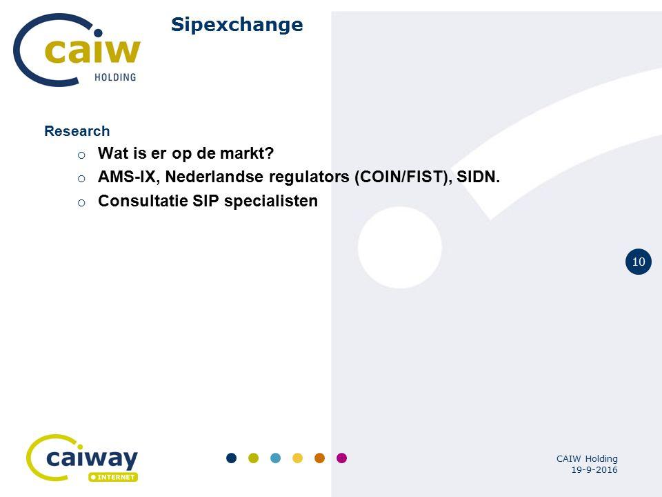 10 19-9-2016 CAIW Holding Sipexchange Research  Wat is er op de markt?  AMS-IX, Nederlandse regulators (COIN/FIST), SIDN.  Consultatie SIP speciali