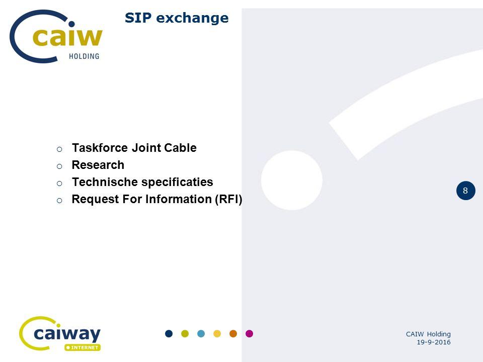 9 19-9-2016 CAIW Holding Sipexchange Specificaties  Carrier Enum voor number translation  SIP als standard, support voor algemene codec's  Multi operator omgeving, met automatische provisioning  Ge-decentraliseerd verkeer van codecs data  Support voor roaming en of peering  Veilige en redundante service  Schaalbaar > 1.000.000 subs  Kabel industrie standaarden; packet cable multi media  QoS support