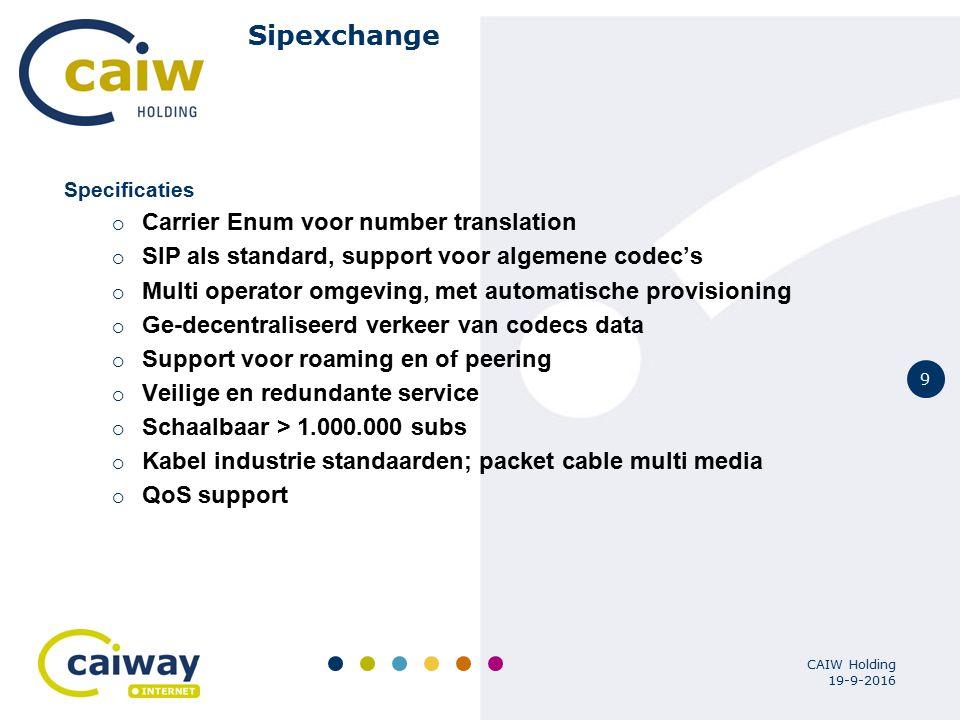 9 19-9-2016 CAIW Holding Sipexchange Specificaties  Carrier Enum voor number translation  SIP als standard, support voor algemene codec's  Multi op