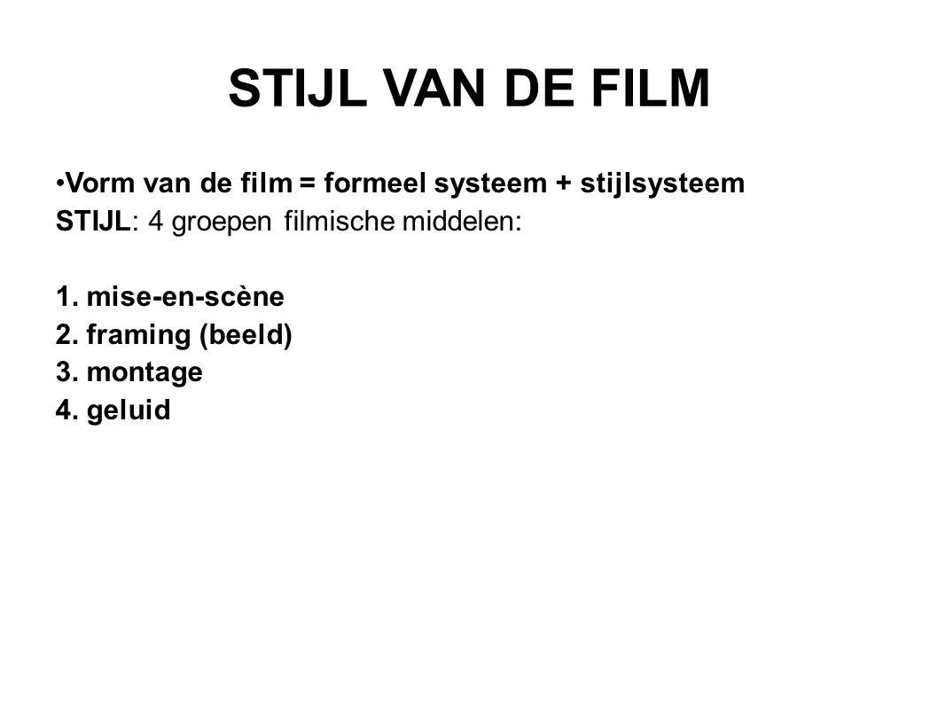 STIJL VAN DE FILM Vorm van de film = formeel systeem + stijlsysteem STIJL: 4 groepen filmische middelen: 1.