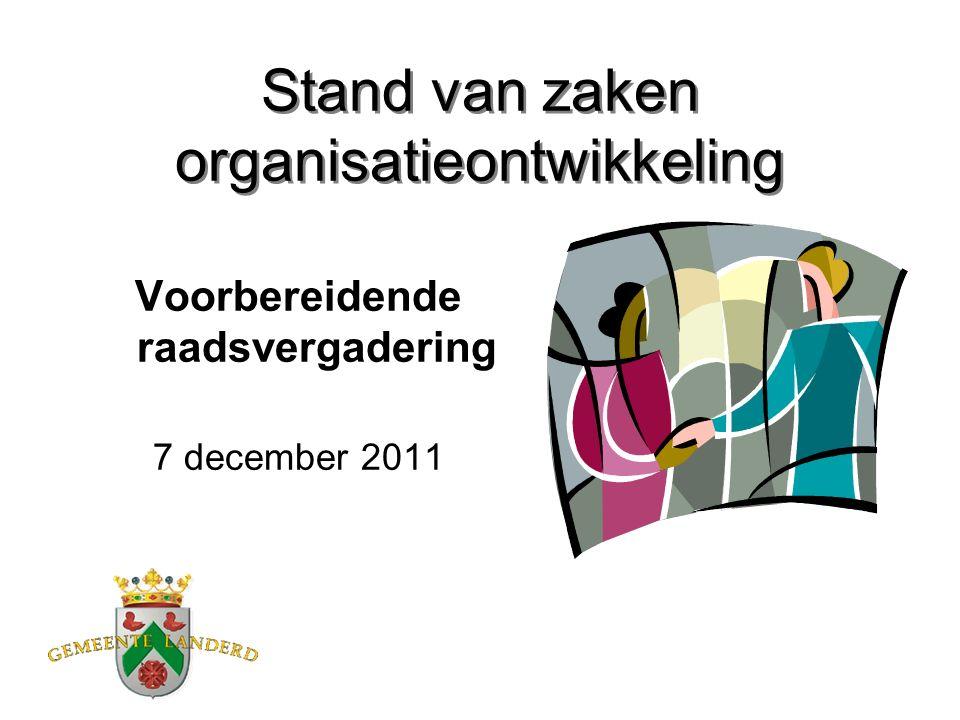 Stand van zaken organisatieontwikkeling Voorbereidende raadsvergadering 7 december 2011