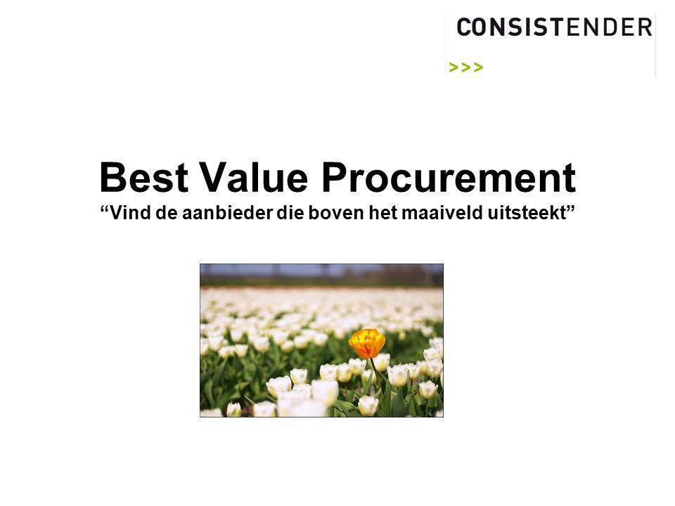 Best Value Procurement Vind de aanbieder die boven het maaiveld uitsteekt