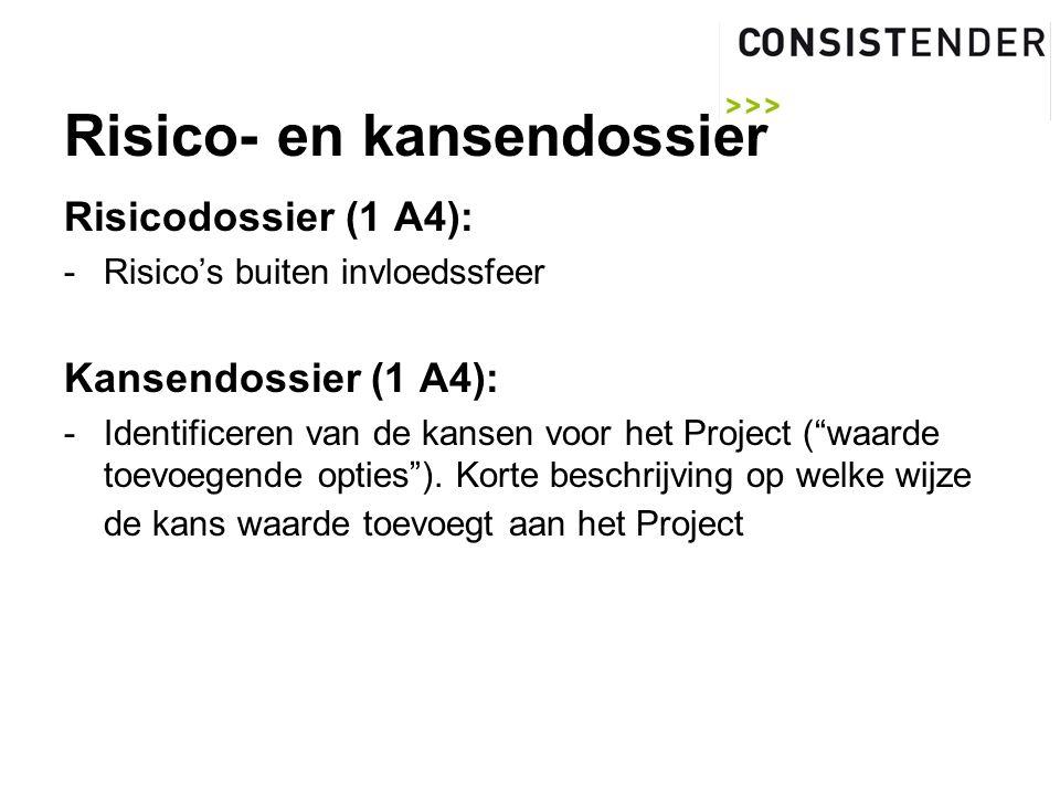 Risico- en kansendossier Risicodossier (1 A4): -Risico's buiten invloedssfeer Kansendossier (1 A4): -Identificeren van de kansen voor het Project ( waarde toevoegende opties ).