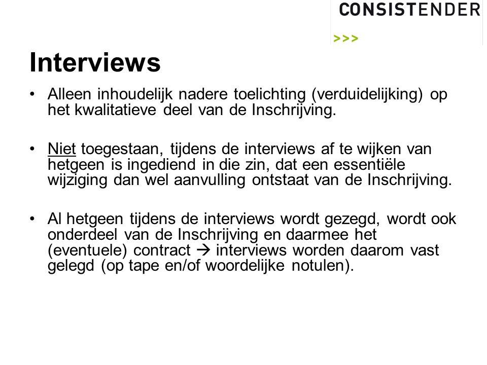 Interviews Alleen inhoudelijk nadere toelichting (verduidelijking) op het kwalitatieve deel van de Inschrijving.