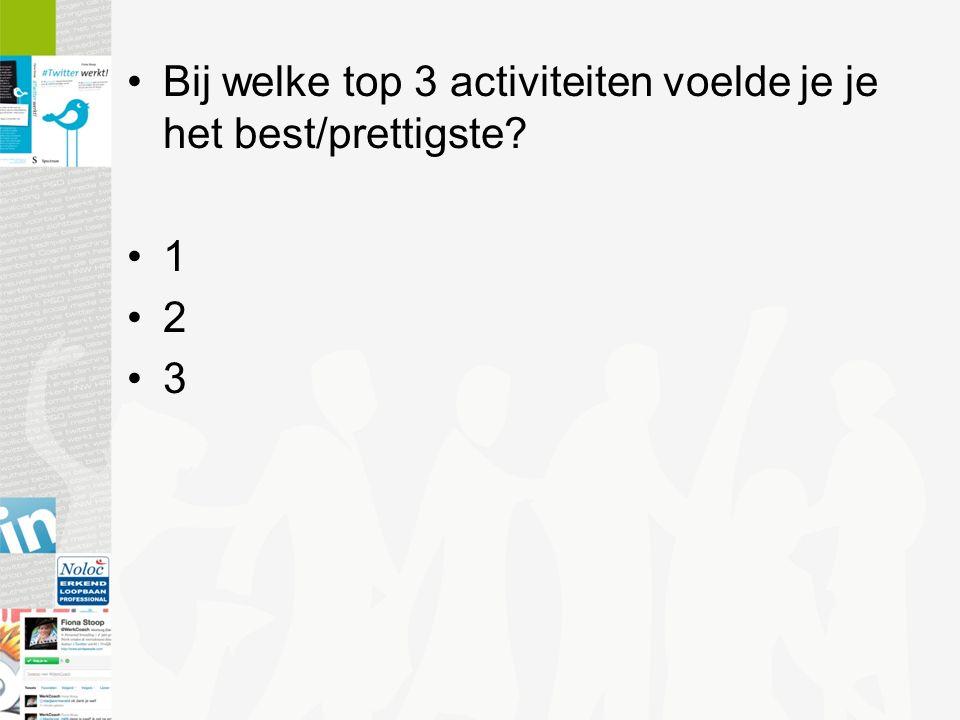 Bij welke top 3 activiteiten voelde je je het best/prettigste? 1 2 3