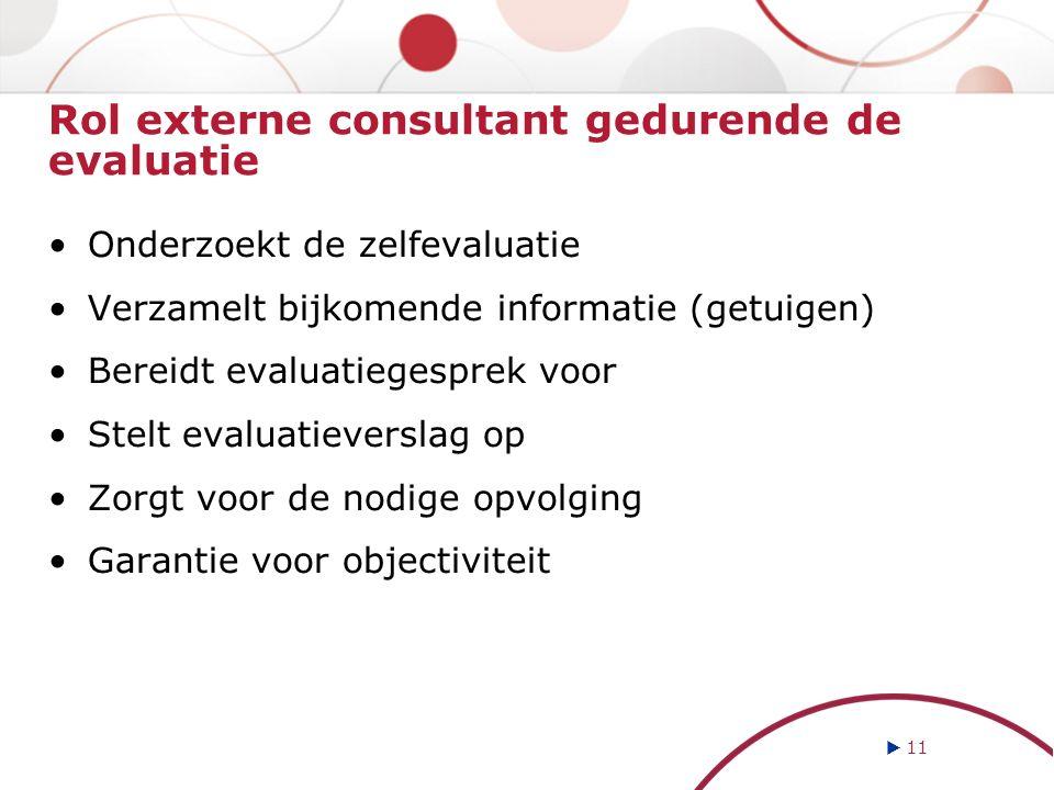 Rol externe consultant gedurende de evaluatie Onderzoekt de zelfevaluatie Verzamelt bijkomende informatie (getuigen) Bereidt evaluatiegesprek voor Ste