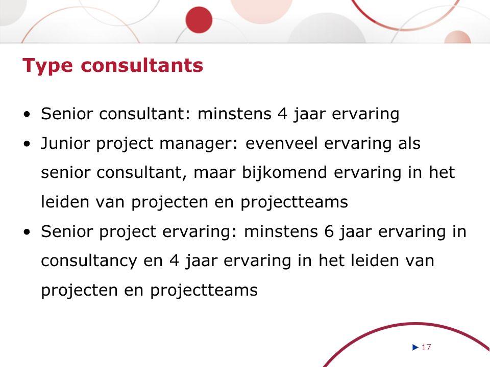 Type consultants Senior consultant: minstens 4 jaar ervaring Junior project manager: evenveel ervaring als senior consultant, maar bijkomend ervaring