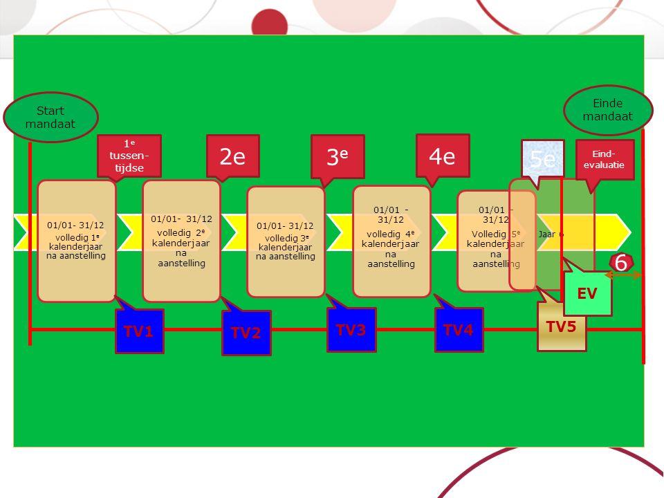 Evaluatieprocedure 5-6 maal tijdens mandaat: 4-5 tussentijdse en 1 eindevaluatie (verworven 6 maand voor einde mandaat) Bestaat uit Zelfevaluatie Verzamelen bijkomende of tegenstrijdige informatie Evaluatiegesprek Verslag  10