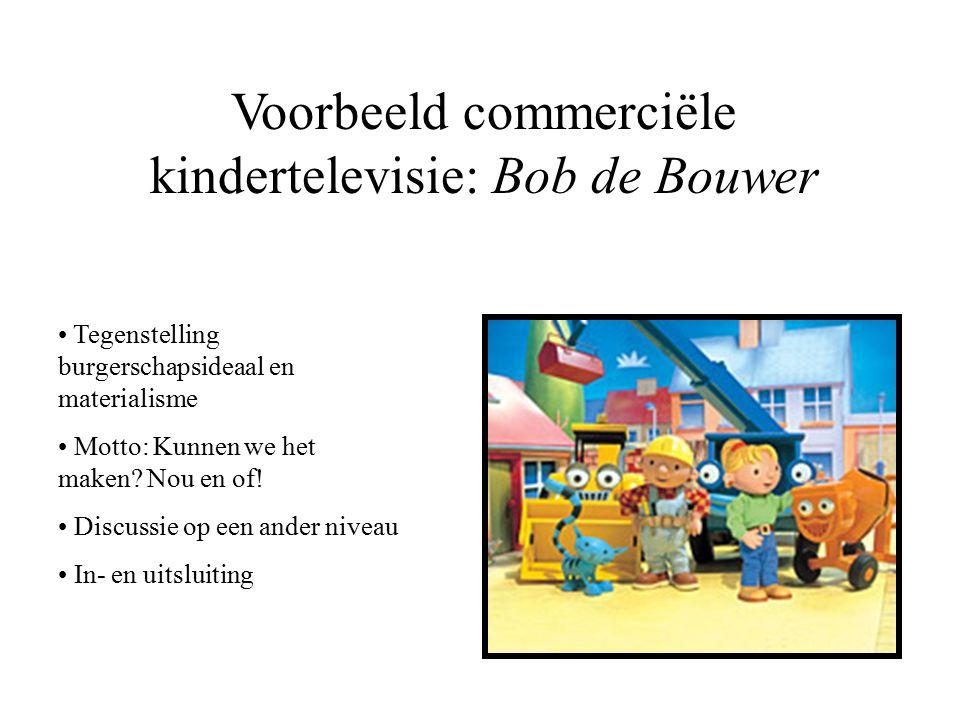 Voorbeeld commerciële kindertelevisie: Bob de Bouwer Tegenstelling burgerschapsideaal en materialisme Motto: Kunnen we het maken.