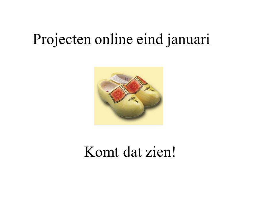 Projecten online eind januari Komt dat zien!