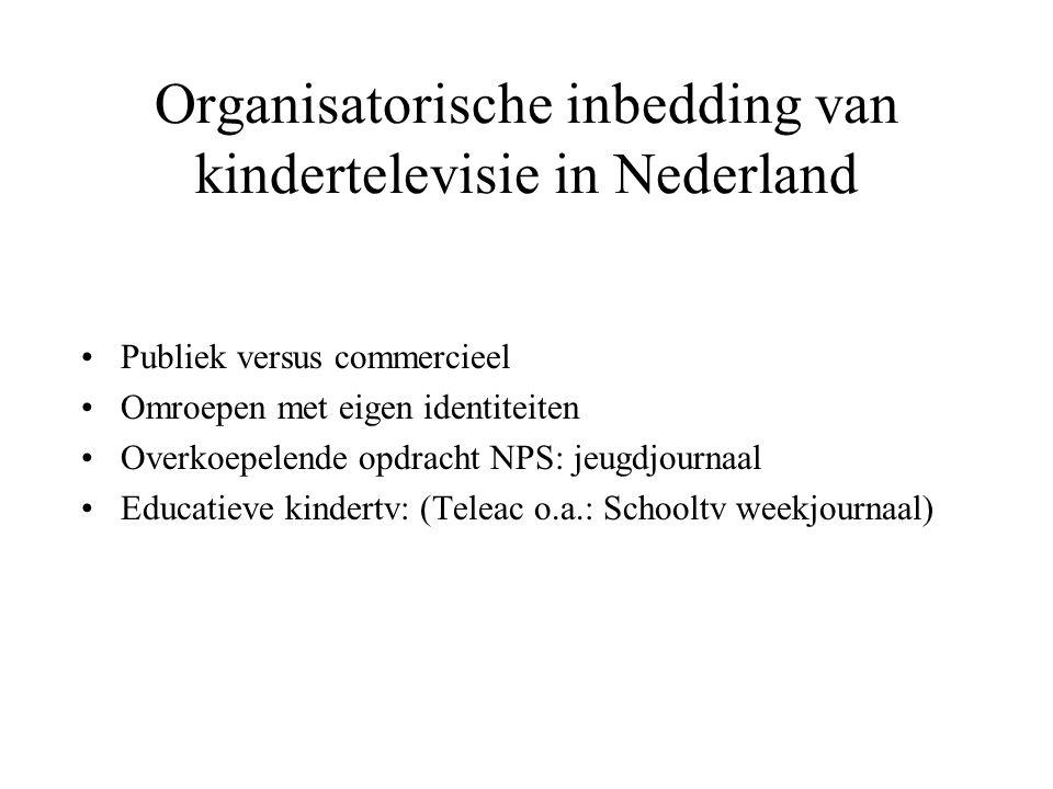 Organisatorische inbedding van kindertelevisie in Nederland Publiek versus commercieel Omroepen met eigen identiteiten Overkoepelende opdracht NPS: jeugdjournaal Educatieve kindertv: (Teleac o.a.: Schooltv weekjournaal)