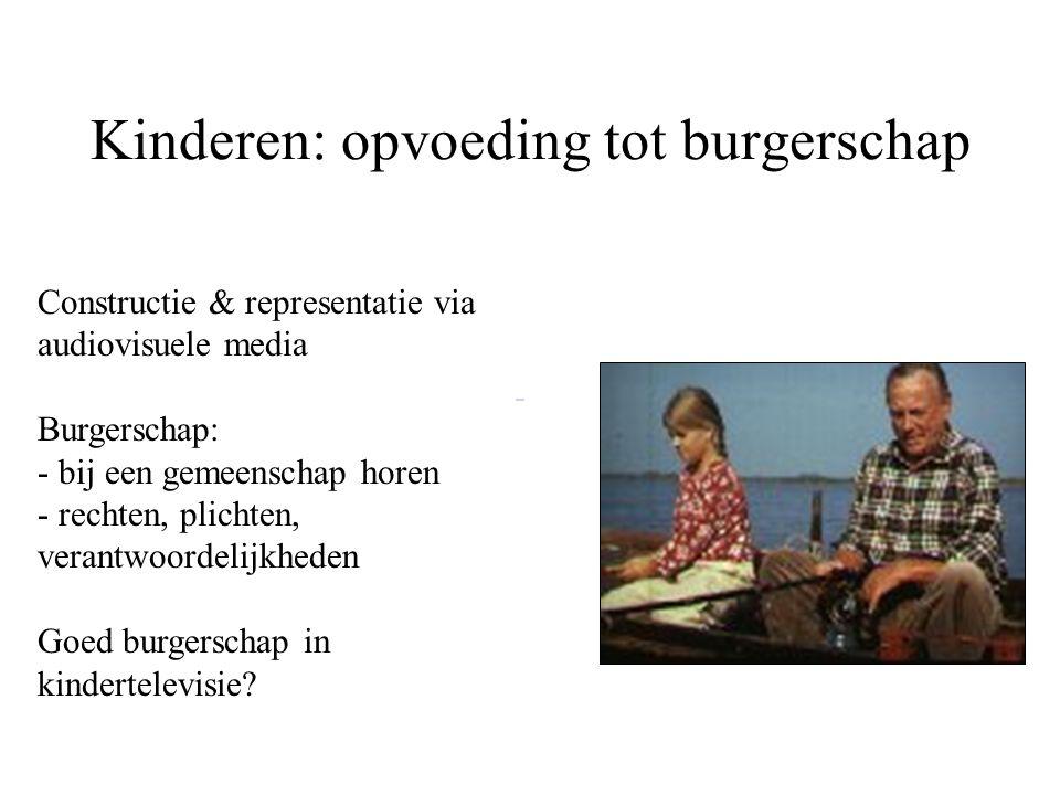 Kinderen: opvoeding tot burgerschap Constructie & representatie via audiovisuele media Burgerschap: - bij een gemeenschap horen - rechten, plichten, verantwoordelijkheden Goed burgerschap in kindertelevisie?