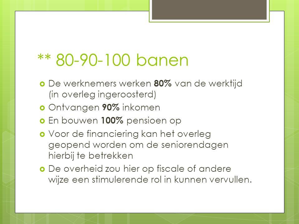 ** 80-90-100 banen  De werknemers werken 80% van de werktijd (in overleg ingeroosterd)  Ontvangen 90% inkomen  En bouwen 100% pensioen op  Voor de