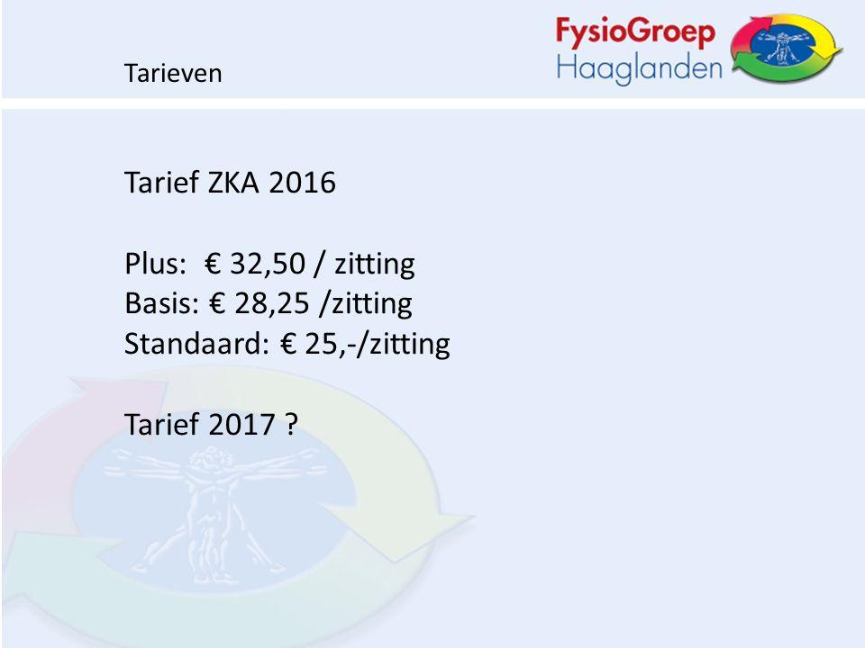 Tarief ZKA 2016 Plus: € 32,50 / zitting Basis: € 28,25 /zitting Standaard: € 25,-/zitting Tarief 2017 .