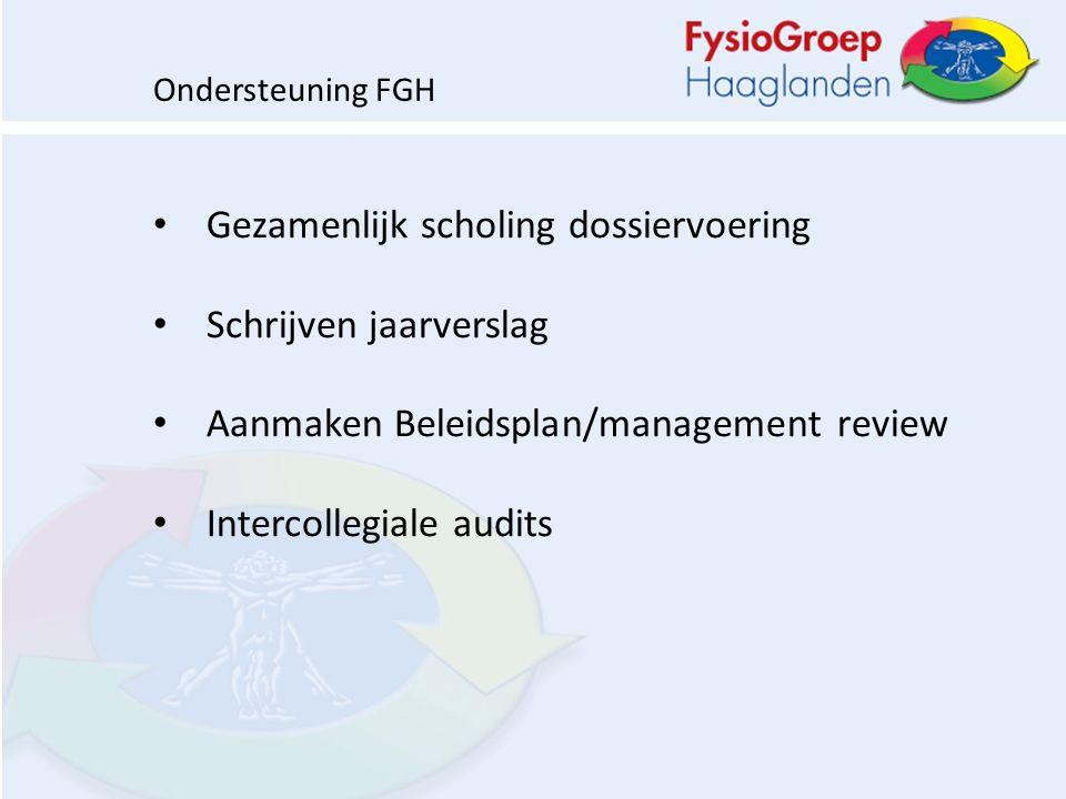 Gezamenlijk scholing dossiervoering Schrijven jaarverslag Aanmaken Beleidsplan/management review Intercollegiale audits Ondersteuning FGH