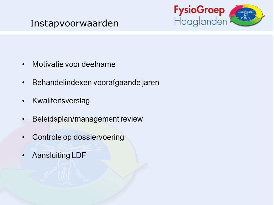 Motivatie voor deelname Behandelindexen voorafgaande jaren Kwaliteitsverslag Beleidsplan/management review Controle op dossiervoering Aansluiting LDF Instapvoorwaarden