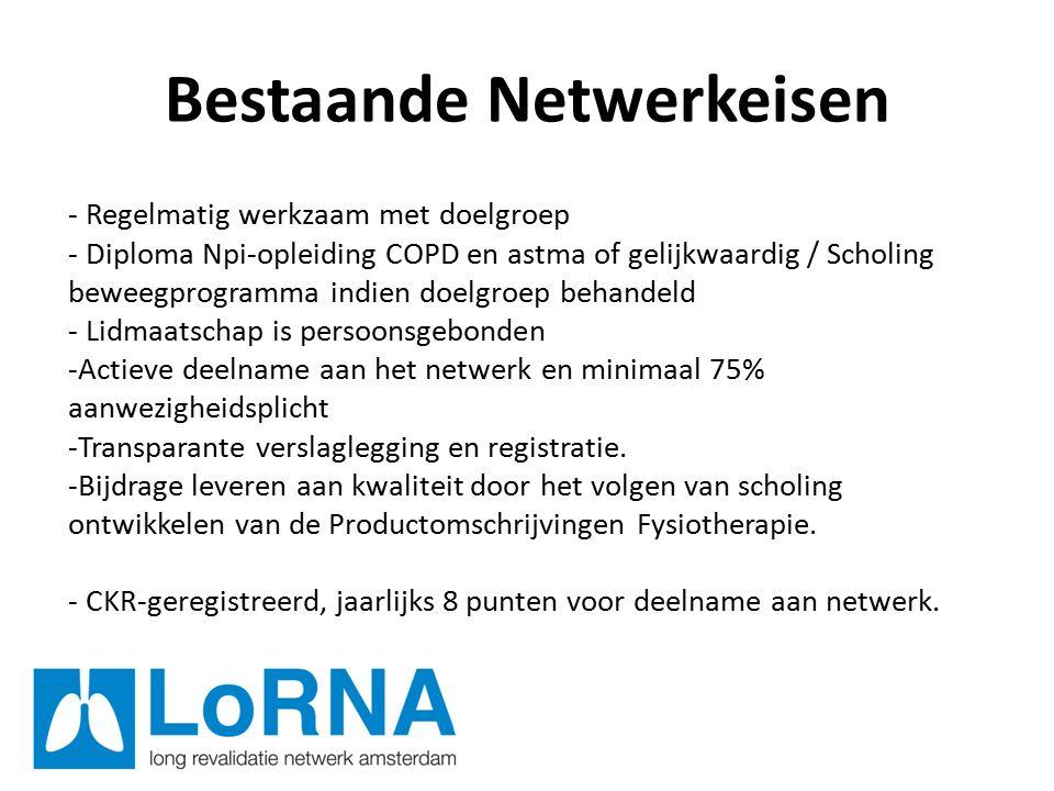 Bestaande Netwerkeisen - Regelmatig werkzaam met doelgroep - Diploma Npi-opleiding COPD en astma of gelijkwaardig / Scholing beweegprogramma indien doelgroep behandeld - Lidmaatschap is persoonsgebonden -Actieve deelname aan het netwerk en minimaal 75% aanwezigheidsplicht -Transparante verslaglegging en registratie.