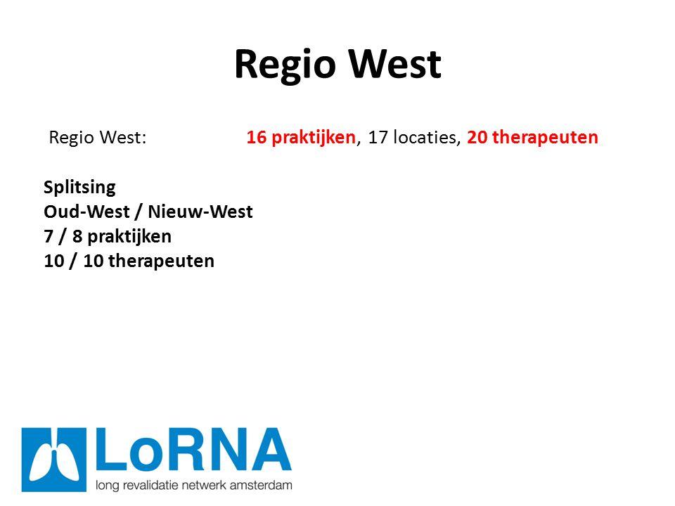 Regio West Regio West: 16 praktijken, 17 locaties, 20 therapeuten Splitsing Oud-West / Nieuw-West 7 / 8 praktijken 10 / 10 therapeuten