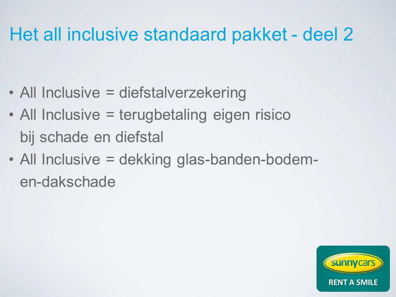 Het all inclusive standaard pakket - deel 2 All Inclusive = diefstalverzekering All Inclusive = terugbetaling eigen risico bij schade en diefstal All Inclusive = dekking glas-banden-bodem- en-dakschade