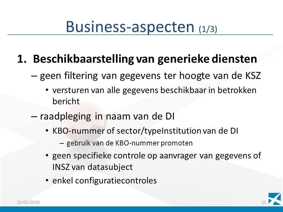 Business-aspecten (1/3) 1.Beschikbaarstelling van generieke diensten – geen filtering van gegevens ter hoogte van de KSZ versturen van alle gegevens beschikbaar in betrokken bericht – raadpleging in naam van de DI KBO-nummer of sector/typeInstitution van de DI – gebruik van de KBO-nummer promoten geen specifieke controle op aanvrager van gegevens of INSZ van datasubject enkel configuratiecontroles 25/02/201611