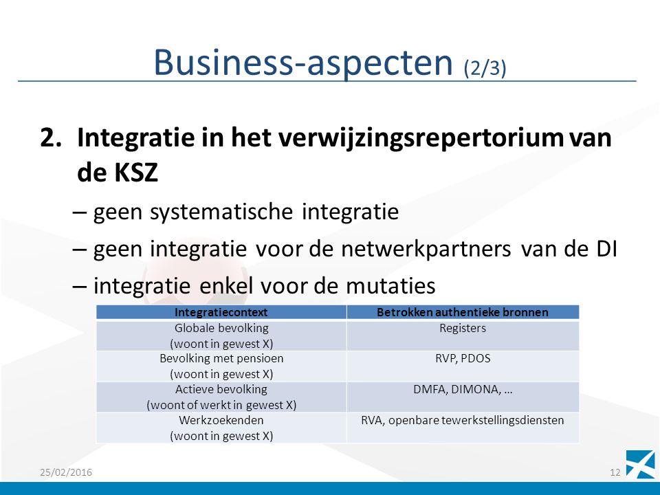 Business-aspecten (2/3) 2.Integratie in het verwijzingsrepertorium van de KSZ – geen systematische integratie – geen integratie voor de netwerkpartners van de DI – integratie enkel voor de mutaties Hergroepering per soortgelijke behoefte Bv.: 25/02/201612 IntegratiecontextBetrokken authentieke bronnen Globale bevolking (woont in gewest X) Registers Bevolking met pensioen (woont in gewest X) RVP, PDOS Actieve bevolking (woont of werkt in gewest X) DMFA, DIMONA, … Werkzoekenden (woont in gewest X) RVA, openbare tewerkstellingsdiensten