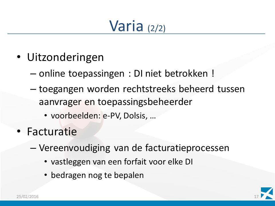 Varia (2/2) Uitzonderingen – online toepassingen : DI niet betrokken .