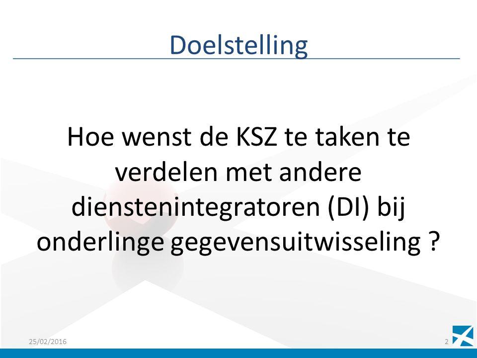 Doelstelling Hoe wenst de KSZ te taken te verdelen met andere dienstenintegratoren (DI) bij onderlinge gegevensuitwisseling .