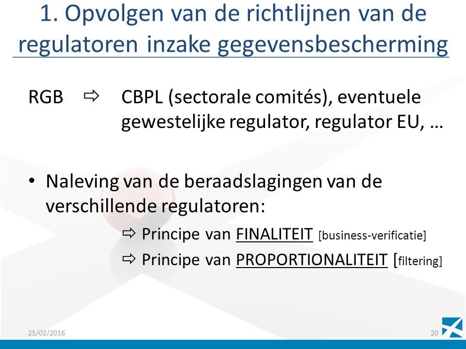 1. Opvolgen van de richtlijnen van de regulatoren inzake gegevensbescherming RGB  CBPL (sectorale comités), eventuele gewestelijke regulator, regulat