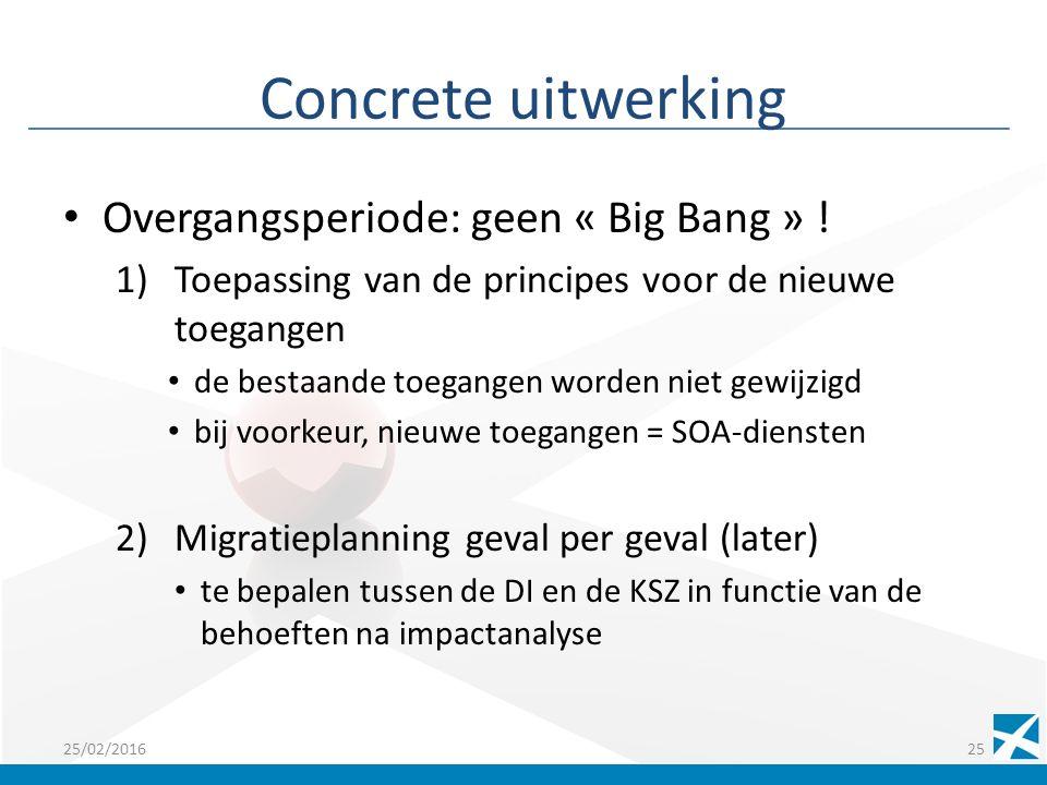 Concrete uitwerking Overgangsperiode: geen « Big Bang » .