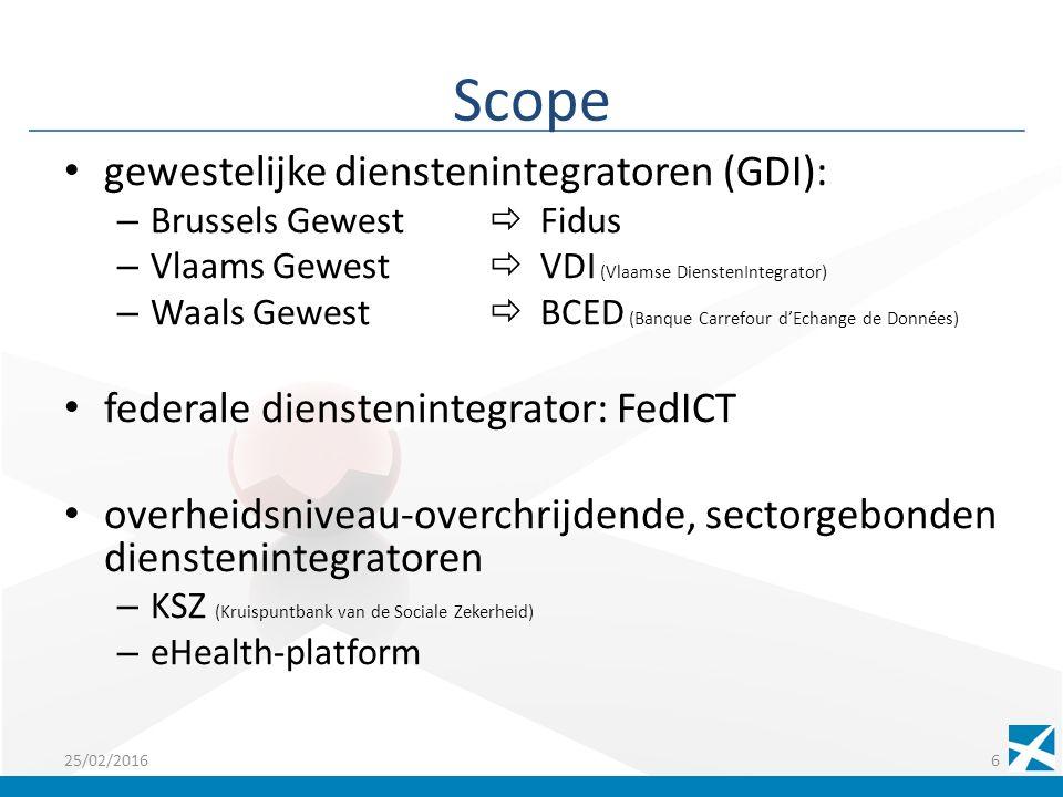 Scope gewestelijke dienstenintegratoren (GDI): – Brussels Gewest  Fidus – Vlaams Gewest  VDI (Vlaamse DienstenIntegrator) – Waals Gewest  BCED (Banque Carrefour d'Echange de Données) federale dienstenintegrator: FedICT overheidsniveau-overchrijdende, sectorgebonden dienstenintegratoren – KSZ (Kruispuntbank van de Sociale Zekerheid) – eHealth-platform 25/02/20166