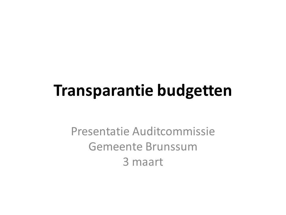 Transparantie budgetten Presentatie Auditcommissie Gemeente Brunssum 3 maart