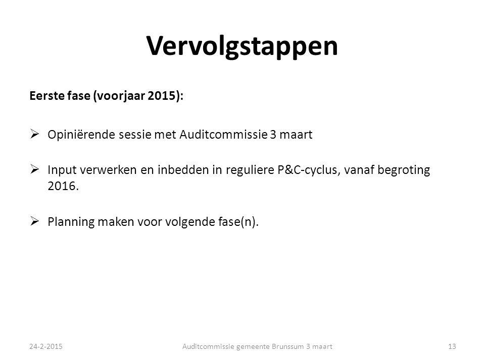 Vervolgstappen Eerste fase (voorjaar 2015):  Opiniërende sessie met Auditcommissie 3 maart  Input verwerken en inbedden in reguliere P&C-cyclus, vanaf begroting 2016.