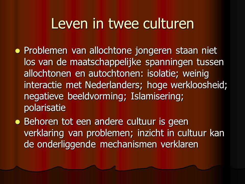 Leven in twee culturen Problemen van allochtone jongeren staan niet los van de maatschappelijke spanningen tussen allochtonen en autochtonen: isolatie; weinig interactie met Nederlanders; hoge werkloosheid; negatieve beeldvorming; Islamisering; polarisatie Problemen van allochtone jongeren staan niet los van de maatschappelijke spanningen tussen allochtonen en autochtonen: isolatie; weinig interactie met Nederlanders; hoge werkloosheid; negatieve beeldvorming; Islamisering; polarisatie Behoren tot een andere cultuur is geen verklaring van problemen; inzicht in cultuur kan de onderliggende mechanismen verklaren Behoren tot een andere cultuur is geen verklaring van problemen; inzicht in cultuur kan de onderliggende mechanismen verklaren