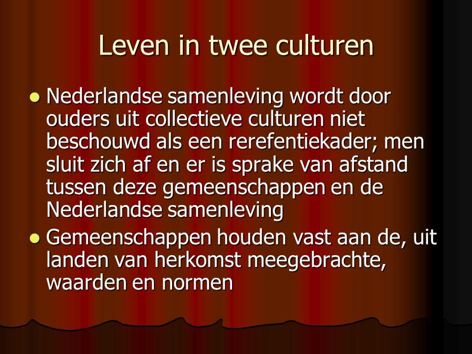 Leven in twee culturen Nederlandse samenleving wordt door ouders uit collectieve culturen niet beschouwd als een rerefentiekader; men sluit zich af en er is sprake van afstand tussen deze gemeenschappen en de Nederlandse samenleving Nederlandse samenleving wordt door ouders uit collectieve culturen niet beschouwd als een rerefentiekader; men sluit zich af en er is sprake van afstand tussen deze gemeenschappen en de Nederlandse samenleving Gemeenschappen houden vast aan de, uit landen van herkomst meegebrachte, waarden en normen Gemeenschappen houden vast aan de, uit landen van herkomst meegebrachte, waarden en normen