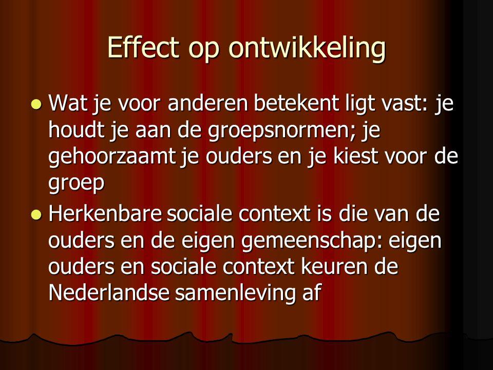 Effect op ontwikkeling Wat je voor anderen betekent ligt vast: je houdt je aan de groepsnormen; je gehoorzaamt je ouders en je kiest voor de groep Wat je voor anderen betekent ligt vast: je houdt je aan de groepsnormen; je gehoorzaamt je ouders en je kiest voor de groep Herkenbare sociale context is die van de ouders en de eigen gemeenschap: eigen ouders en sociale context keuren de Nederlandse samenleving af Herkenbare sociale context is die van de ouders en de eigen gemeenschap: eigen ouders en sociale context keuren de Nederlandse samenleving af