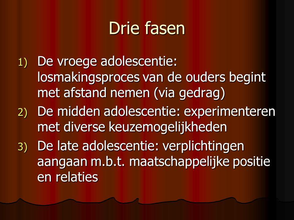 Drie fasen 1) De vroege adolescentie: losmakingsproces van de ouders begint met afstand nemen (via gedrag) 2) De midden adolescentie: experimenteren met diverse keuzemogelijkheden 3) De late adolescentie: verplichtingen aangaan m.b.t.
